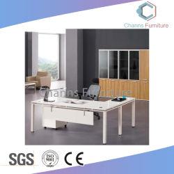 심플한 Desing Office 가구 화이트 L Shape Manager 테이블 금속 프레임(CAS-ED31449)