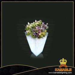 Jardim de decoração iluminado LED impermeável Cube Plantadeira