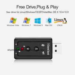 외부 USB PC 2 바탕 화면 노트북을%s 3.5mm 헤드폰 Mic를 가진 음성 카드 7.1 채널 3D 오디오 접합기