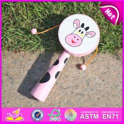 2015昇進のPink Shake Rattles Toys、Educational Toy Cow Face Drum RattleのKids W07g006のためのHot Sale ModelのドラムShaped Rattle