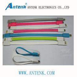 Venta caliente 22cm cable Micro-USB para teléfono móvil inteligente, con dos partes en contacto con aceptable y el magnetismo para hacer el Cable fácil usa