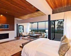 Theの居間のTV Backgroundとして卸し売りPrice Red Cedar WoodおよびWood Ceiling。