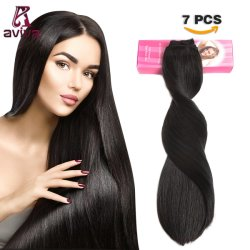 الرأس الكامل 7PCS وضع مشبك في الشعر امتداد الشعر البرازيلي امتداد الشعر البكر البشري 1b# 14بوصة تمديد الشعر ل الرأس الكامل (AV-CHL07-14)