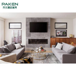 Tres plazas sofá de tela con diseño a juego mesa y silla para Salón