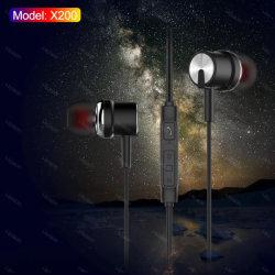 携帯電話のための耳のマイクロフォンワイヤー金属のイヤホーンの極度の低音のステレオのイヤホーン