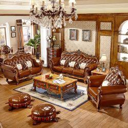 Usine de gros bois Royal canapé en cuir avec table basse en bois