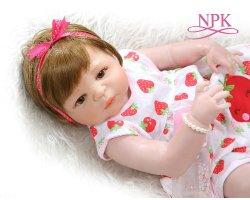 Fertilizantes NPK 56cm Bebe Doll renascer bebê recém-nascido doce Menina Victoria / Silicone de corpo inteiro do lado de brinquedo Paiting detalhadas Pinky Pele