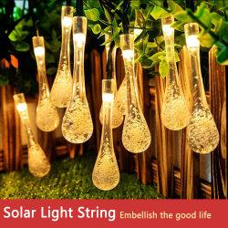 Des Twinkle-30 LED dekoratives Licht Wasser-Absinken-helle Solarzeichenkette-im Freien wasserdichtes Regentropfen-Garten-der Beleuchtung-LED