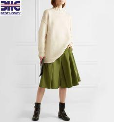 여자를 위한 드롭한 어깨 백색 느슨한 스웨터가 너무 크은 100% 순수한 캐시미어 천에 의하여 뜨개질을 했다