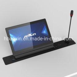 Sistema di conferenza senza carta attrezzatura per sale conferenze meccanismo di sollevamento del monitor LCD retrattile motorizzato con schermo HD, microfono e display personalizzato