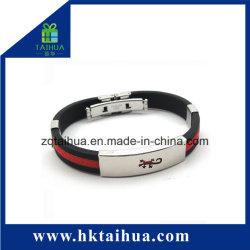 Silver glaçure en acier inoxydable bracelet Bracelet en silicone/ avec le métal Thb-057