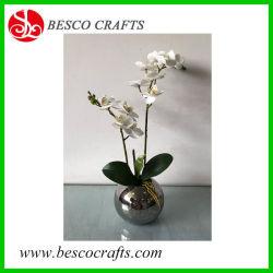 alta orchidea reale artificiale della stampa di tocco 3D di 45cm in POT di ceramica