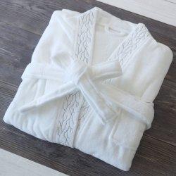 100% coton Kimono de velours de l'encolure Terry Weave hôtel Peignoir de bain