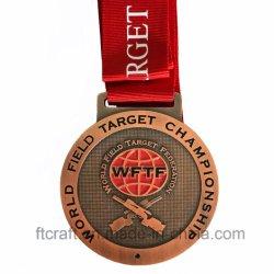 리본을%s 가진 금속 메달이 관례 3D 도전 일치 금속 달리기 포상에 의하여