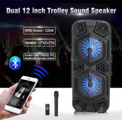Subwoofer duplo amplificador Loadspeaker portátil com 2 Entrada de microfone com fio