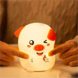 Cerdo lindo LED lámpara de noche de silicona de los niños Cumpleaños Regalos de Navidad