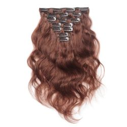 "16 "" #33 Clip de Virgin Remy Dark-Auburn Human-Hair Extensions Body-Wave 7PCS"