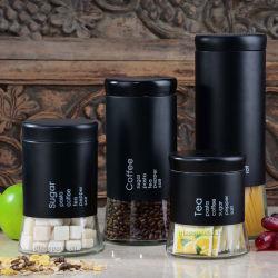 Acero inoxidable accesorios de café de lata de café de cristal
