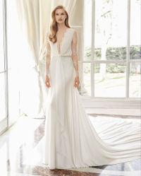 Hot Sale Manchon long de la dentelle en mousseline robe de mariée de mariée 3142