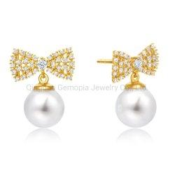 925 orecchino d'argento di modo della perla dell'acqua dolce dell'orecchino di figura dell'arco dell'oro di 10K 14K 18K