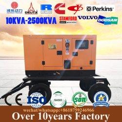Aanhangwagen/Mobiele Diesel van Wielen Regendichte Stille Generator 250kVA 100kVA 30kVA