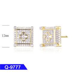 Der GroßhandelsHip Hop-Männer überzogener Diamant der Sterlingsilber-Form-Schmucksache-14 K Gold gefror heraus Stift-Ohrringe