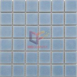 La glace crépitement effet glaçure en céramique bleu piscine mosaïque (CFT915)