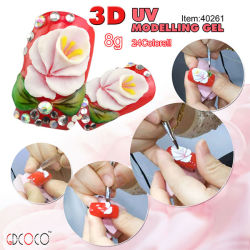 #40261c Latest Nail Product、Fashion Crystal DIY紫外線Craving Gel 3D Nail Art