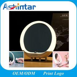 Miroir cosmétique LED créatif de lampe de table de radio FM de haut-parleur Bluetooth sans fil
