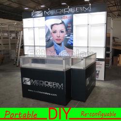 Tecido personalizado de alumínio portátil Slatwall Booth Stand Exposição Exposição Exposição