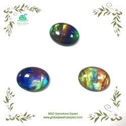 MGO Bijoux ovale synthétique global/Round/couper le verre personnalisé Gemstone Cabochon Ammolite pierre multicolore