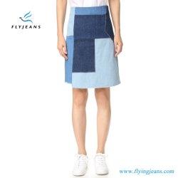 Modo de fábrica 100% algodão Patchwork Denim Senhoras Mulheres Saias Jeans (E. P. 514)