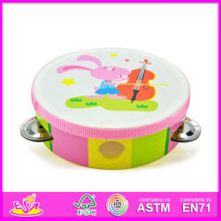 2014 neues Wooden Baby Toy Tambourine Drum, Popular Wooden Children Tambourine Toy und Hot Selling Kids Wooden Tambourine W07f004