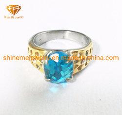 IP van de Halfedelsteen van de Juwelen van het Lichaam van het roestvrij staal de Blauwe Gouden Gietende Ring van het Roestvrij staal (SCR2910)