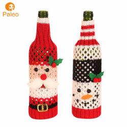 Пуловер вязаные Рождество Санта-головка вино крышки расширительного бачка с подарков ткань Фестиваль дизайна в ресторане вина крышки