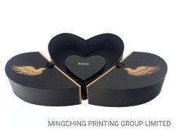 Schwarzes Farben-Farbband-Gleichheit-geöffnetes Entwurfs-kundenspezifisches Schmucksache-Ring-Verpackungs-Inner-geformter Kasten