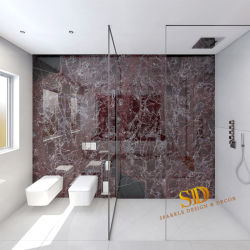 목욕탕 벽과 지면 훈장 판매를 위한 자주색 색깔 Rosa Lavanto 대리석 석판