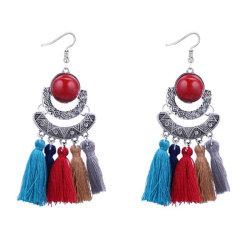 Nouveau design exagérées marque mignon coton Gem Tassel Earrings