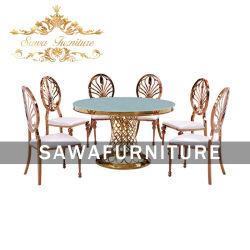Evento de luxo utilizados espelho de vidro ouro Superior da Estrutura de aço inoxidável casamento conjuntos de mesas e cadeiras para sala de jantar