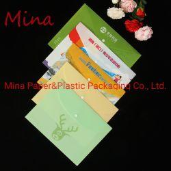 플라스틱 문구용품 단추 주문 로고 인쇄를 가진 다채로운 PP 문서 파일 폴더 부대