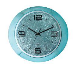 """Oval de 15"""" de color amarillo brillante plástico europeo 3 mano Quartz Reloj de pared"""