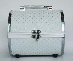 Elegante semicircular de aleación de aluminio PVC Three-Piece caso cosmética de lujo joyas de gran capacidad de la caja de almacenamiento
