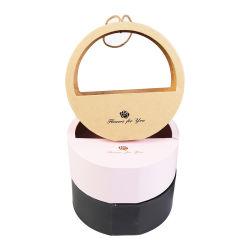 半円形のWindowsが付いているボール紙の装飾的な花の円形ボックス