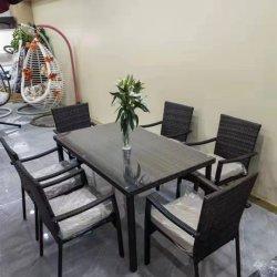Estoque para Pátio ao ar livre jardim Wicker mobiliário rattan cadeira de jantar E conjuntos de mesas 7 PÇS
