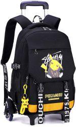 Pikachu 애니메이션 학교 가방 학생 옥스포드 직물 휴가 백팩 여행 6개의 바퀴가 있는 가방 여행 트롤리 케이스 좋은 친구′ S 선물 노트북 백팩