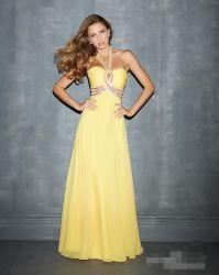Halter chiffon di Lalic di promenade del partito di colore giallo su ordinazione di riserva dell'abito che borda le donne Backless sexy del vestito da sera della damigella d'onore che coprono gli abiti di Vestidos