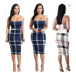 Venda por grosso de vestuário de moda traje casual moderno de Verão Senhoras Roupas Plaid Stripe vestido de mulher sexy Backless linga