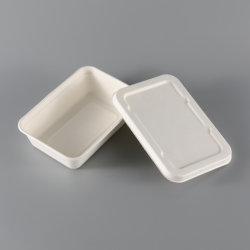 Abbaubare biodegradierbare Verpacken- der Lebensmitteltafelgeschirr-Mittagessen-Kasten-Zuckerrohr-Bagasse-Wegwerfnahrung mit Papiertellersegment der Kappen-500ml 650ml