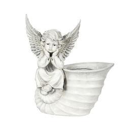 Angel Figurine Flower Pot Estátua de resina Ornament escultura artística de recreio para decoração de jardim