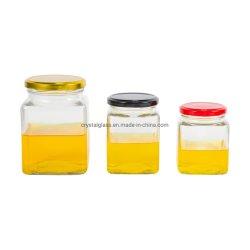 50ml 100ml 180ml 280ml 380ml 500ml 730ml Vidro Quadrado Congestionamento de mel e geleia misturador com a folha de flandres